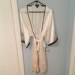 White silk bathrobe